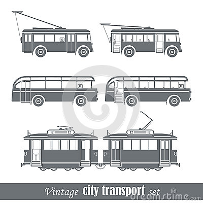 Vintage city transport vehicles