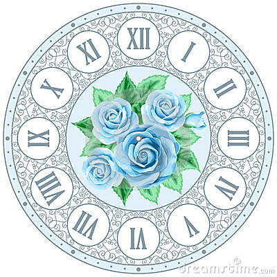 Vintage Clock Face With Roses Stock Vector Image 63483164