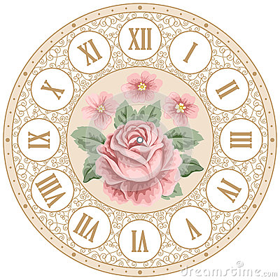 Vintage Clock Face With Roses Stock Vector Image 63545284