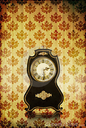 Vintage clocks on grungy background