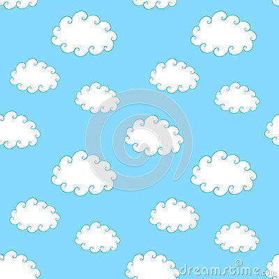 Vintage Clouds Seamless Pattern