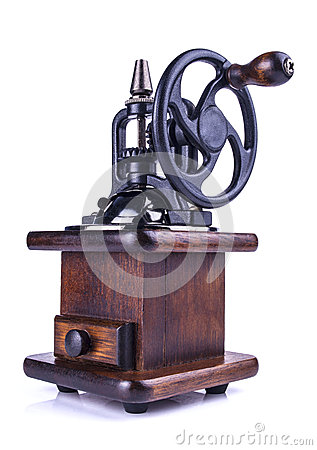 Free Vintage Coffee Mill  On White Royalty Free Stock Images - 41311379