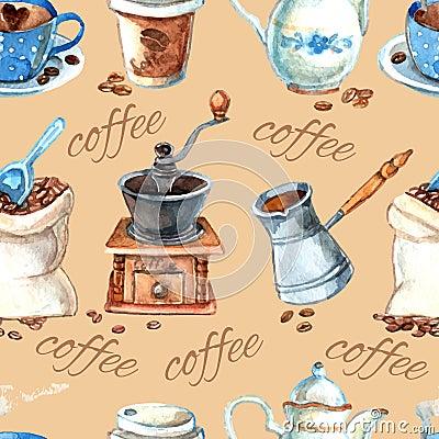 Free Vintage Coffee Set Items Seamless Pattern Stock Image - 51828591