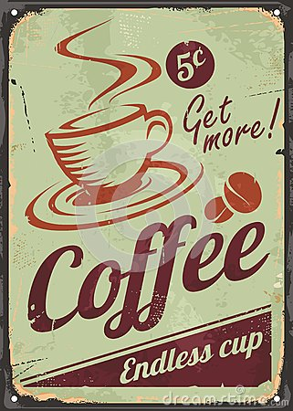 Free Vintage Coffee Sign On Old Metal Background Stock Photos - 81233903