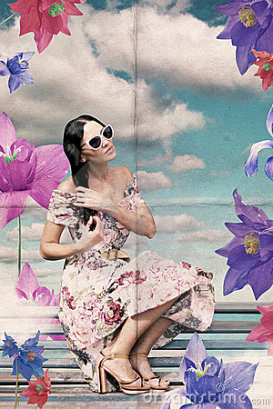 Vintage collage with beauty woman with flowers