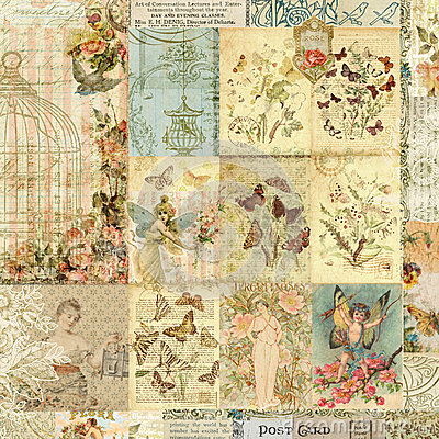 Free Vintage Collage Of Floral And Butterfly Prints Stock Photo - 38125740