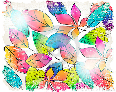 Vintage colorful autumn leaves illustration