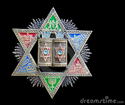 Vintage colorful Magen David (Star of David)