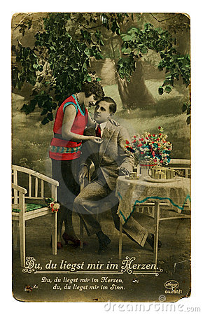 Vintage colorful photo of a young beauty couple Editorial Image