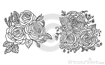 Vintage Colourful Background with Hand Drawn Roses. Vector Floral Template for Greeting Card, Invitation,Wedding, Poster, Backdrop Stock Photo