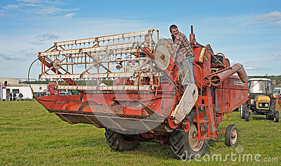 Vintage combined harvester at Roseisle Rally Editorial Stock Photo