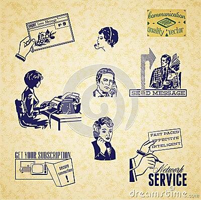 Vintage communication illustration set