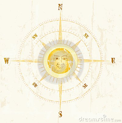 Vintage compass,  illustration