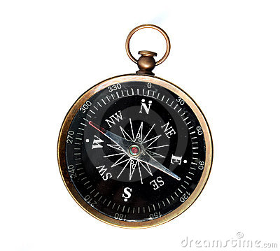 Vintage Compass Isolated Over White