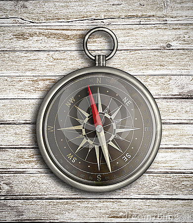 Vintage compass over wood background