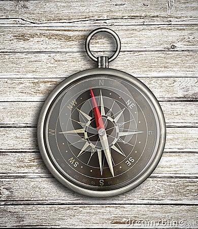 Vintage compass over wood background