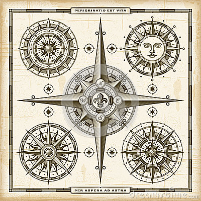 Free Vintage Compass Roses Set Royalty Free Stock Photography - 89399307