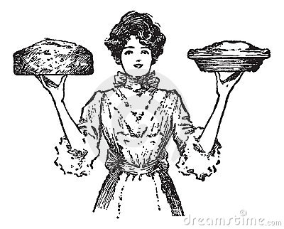 Vintage cook or waitress with baked pies