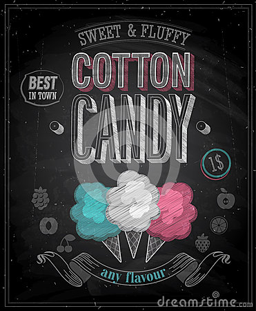 Free Vintage Cotton Candy Poster - Chalkboard. Stock Image - 33690821