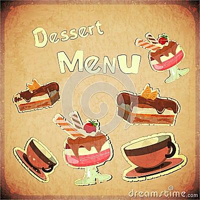 Vintage Cover Cafe or confectionery  dessert  Menu