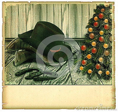 Vintage Cowboy christmas card.American background