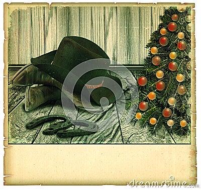 Vintage Cowboy christmas card.American background