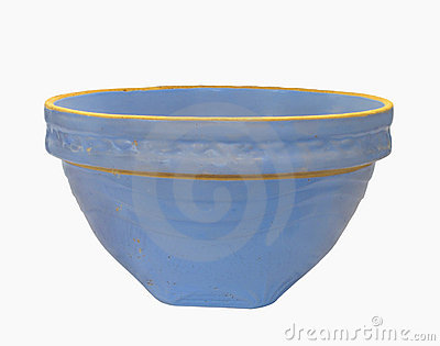 Vintage crockery blue mixing bowl isolated