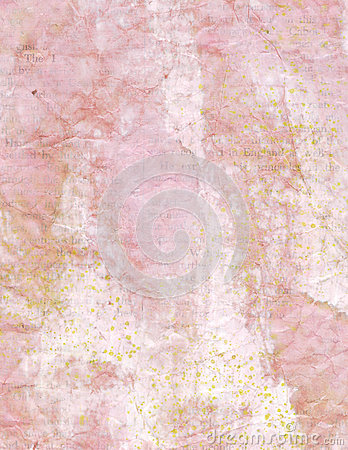 Vintage crumpled pink paper background with text