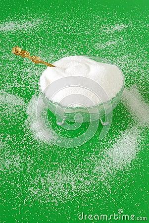 Vintage Crystal Sugar Bowl and a Golden Sugar Spoon on Christmas