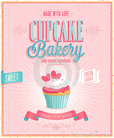 Vintage Cupcake Poster.