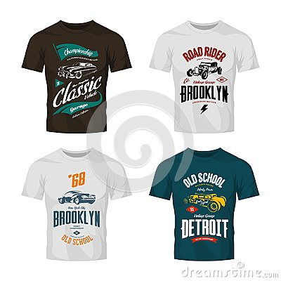 Free Vintage Custom Hot Rod And Classic Car Vector Logo T-shirt Mock Up Set. Royalty Free Stock Image - 101774816