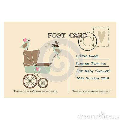 Free Vintage Cute Baby Shower Greeting Postcard, Invitation Royalty Free Stock Photo - 45121925