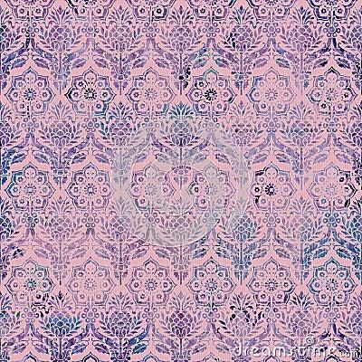 Vintage Damask Purple Pink background pattern