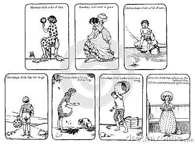 Vintage days of the week nursery rhyme