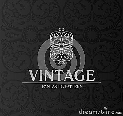 Vintage decor label ornament background emblem