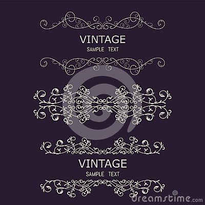 Vintage Decorations Elements. Flourishes Calligraphic Ornaments and Frames. Retro Style Design Collection for Invitations, Banners Vector Illustration