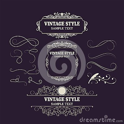 Vintage Decorations Elements and Frames. Retro Style Design New Collection for Invitations, Banners, Posters, Placards, Badges Vector Illustration