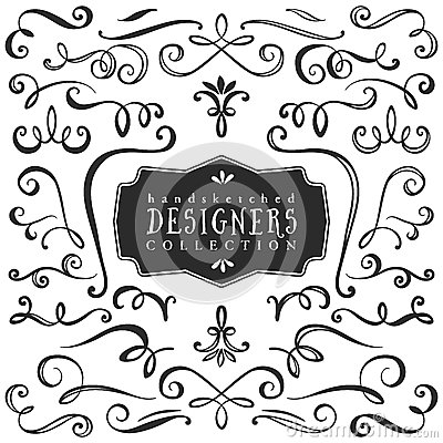 Free Vintage Decorative Curls And Swirls Collection. Hand Drawn Royalty Free Stock Photography - 50326147