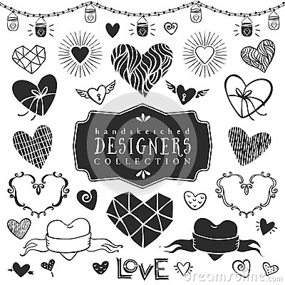 Free Vintage Decorative Hearts Collection. Hand Drawn Vector Design Royalty Free Stock Images - 50326409