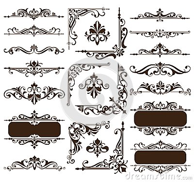 Free Vintage Design Elements Ornaments Frame Corners Curbs Retro Stickers And Damask Vector Set Illustration Stock Images - 112386154