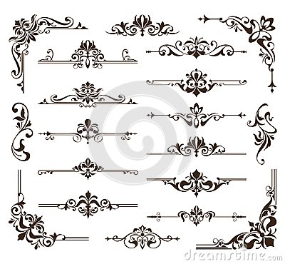 Free Vintage Design Elements Ornaments Frame Corners Curbs Retro Stickers And Damask Vector Set Illustration Royalty Free Stock Photo - 118682125