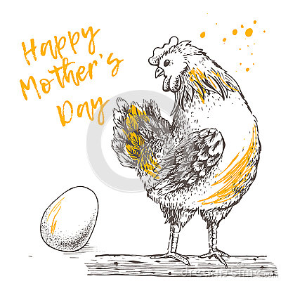 Vintage design with hen and egg. Happy Mother day. Vector Illustration