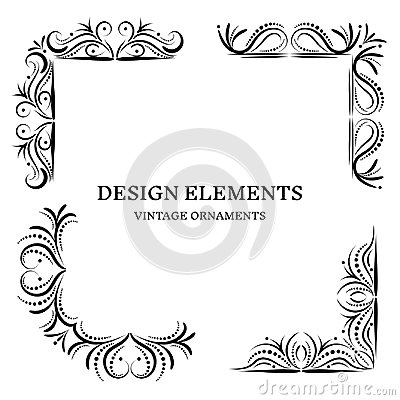 Free Vintage Design Oranamets, Corners Set Royalty Free Stock Photos - 124468468