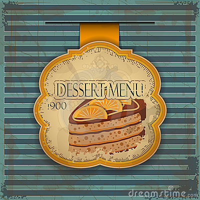 Vintage dessert menu card - label with cake
