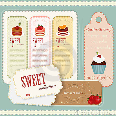 Vintage Dessert menu - set of labels