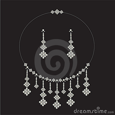Vintage diamond necklace set , jewellery