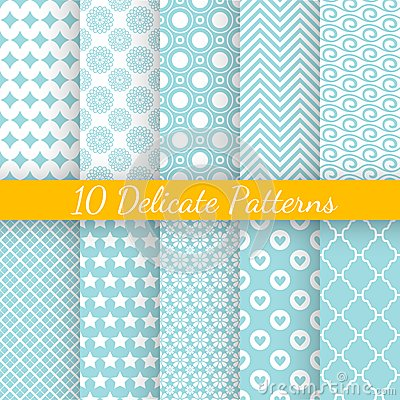 Free Vintage Different Vector Seamless Patterns Stock Photography - 47336432