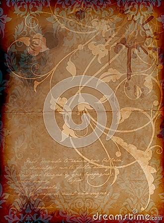 Vintage dirty floral background