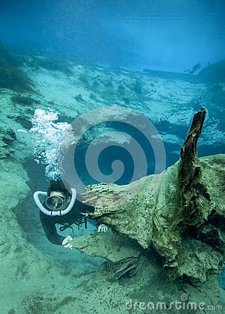Vintage Diver - Morrison Springs Cavern Editorial Stock Photo