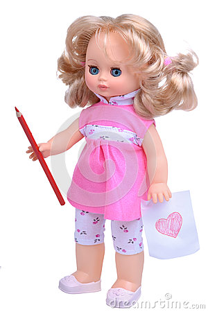 Free Vintage Doll In Pink Dress With Pencil Stock Image - 46882441